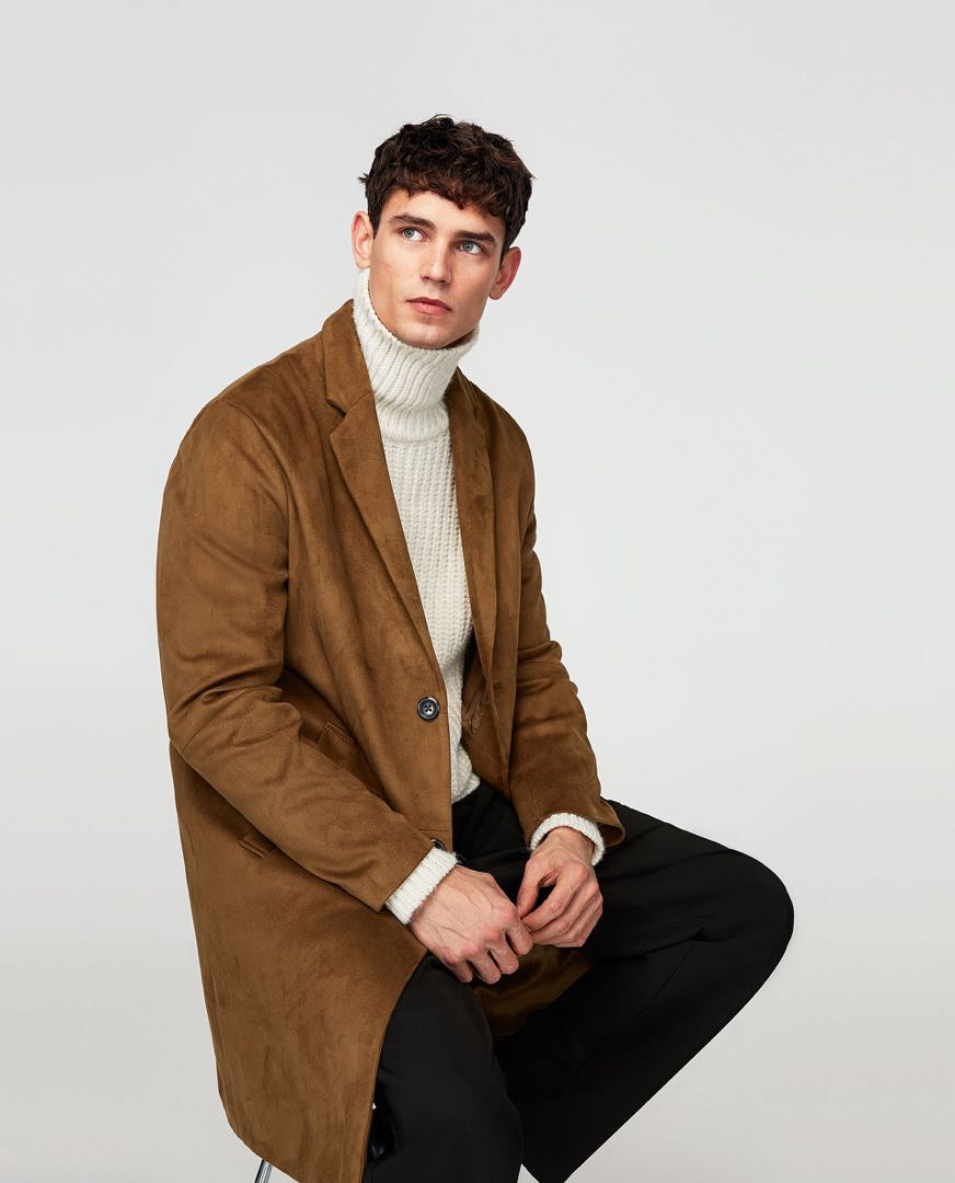 Faux Suede Chester Coat in Camel