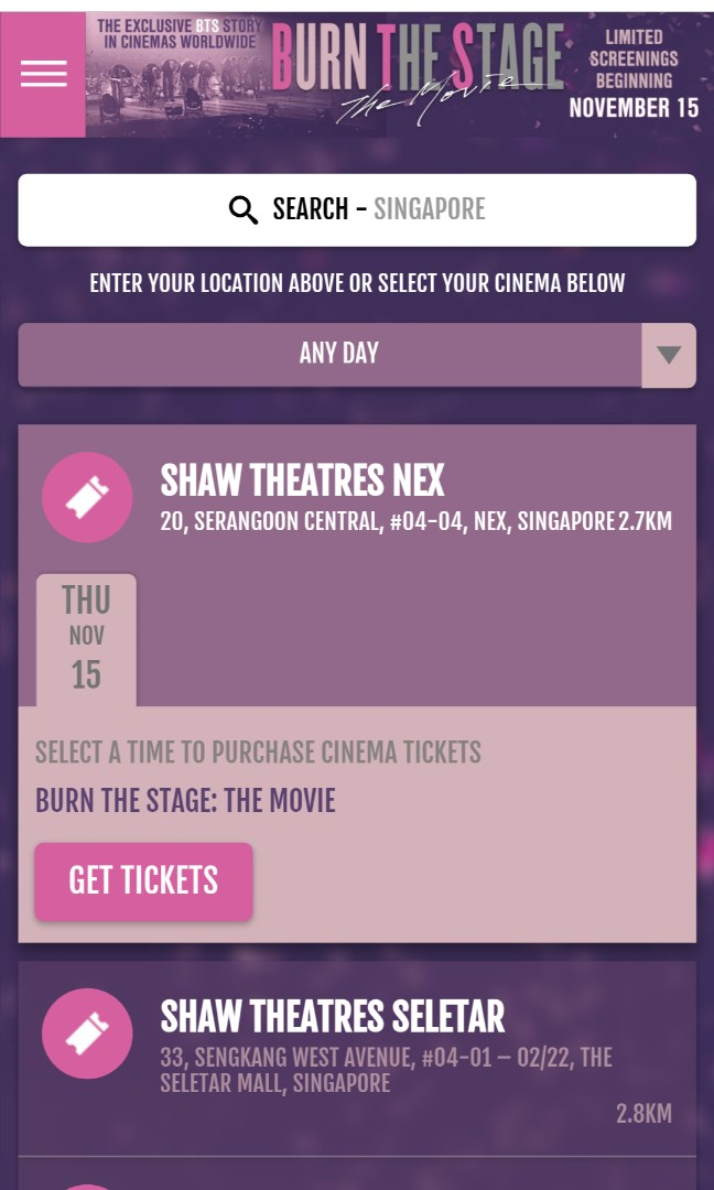 BTS Burn the stage the movie will be showing in SG too 😍