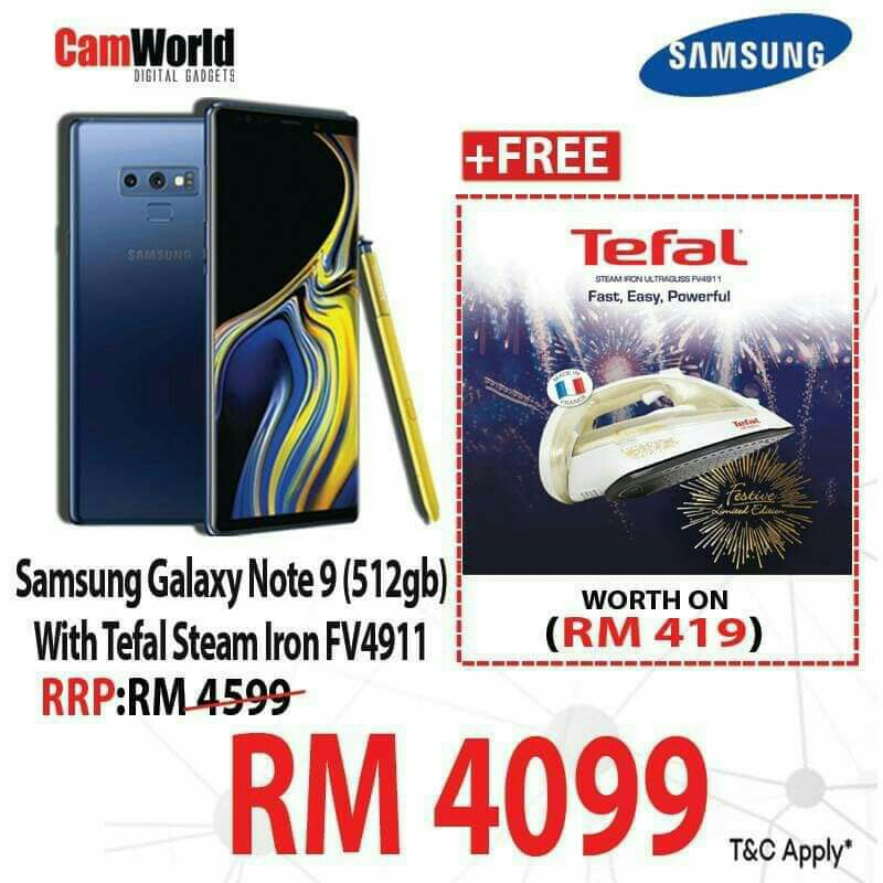 | SAMSUNG GALAXY NOTE 9 (512GB)  WITH TEFAL STEAM IRON FV4911 & TEFAL RICE COOKER RK7405 |