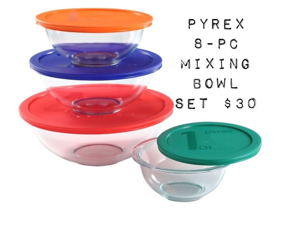Pyrex 8-pc Mixing Bowl Set
