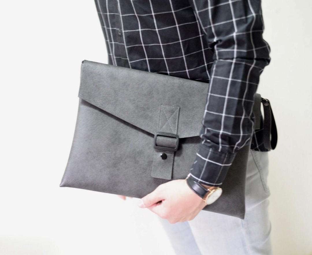 Leather clutch/ laptop bag