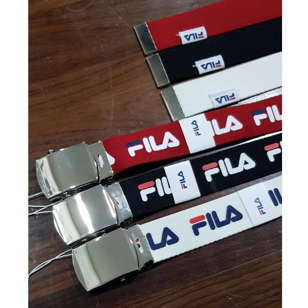 AUTHENTIC FILA Logo Buckle Belts White Black Red