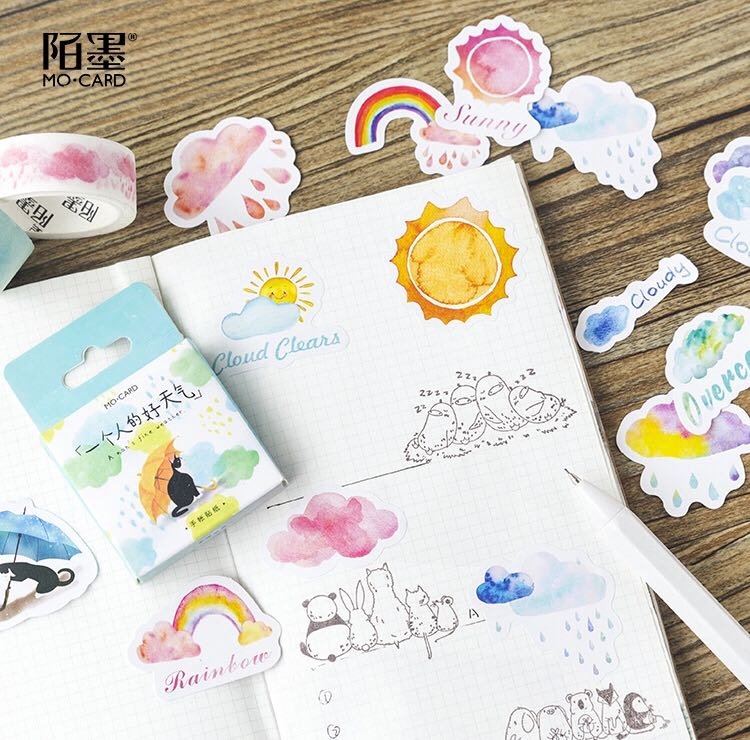 Selling off stickers.