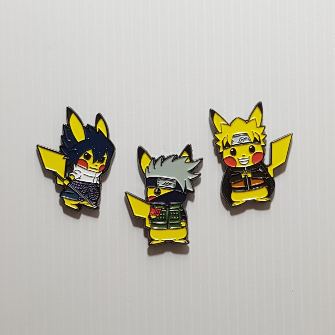 Pokemon X Naruto Stickers & Pins 😁