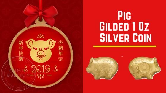 JOLLY PIG Lunar Year Gilded 1 Oz Silver Coin