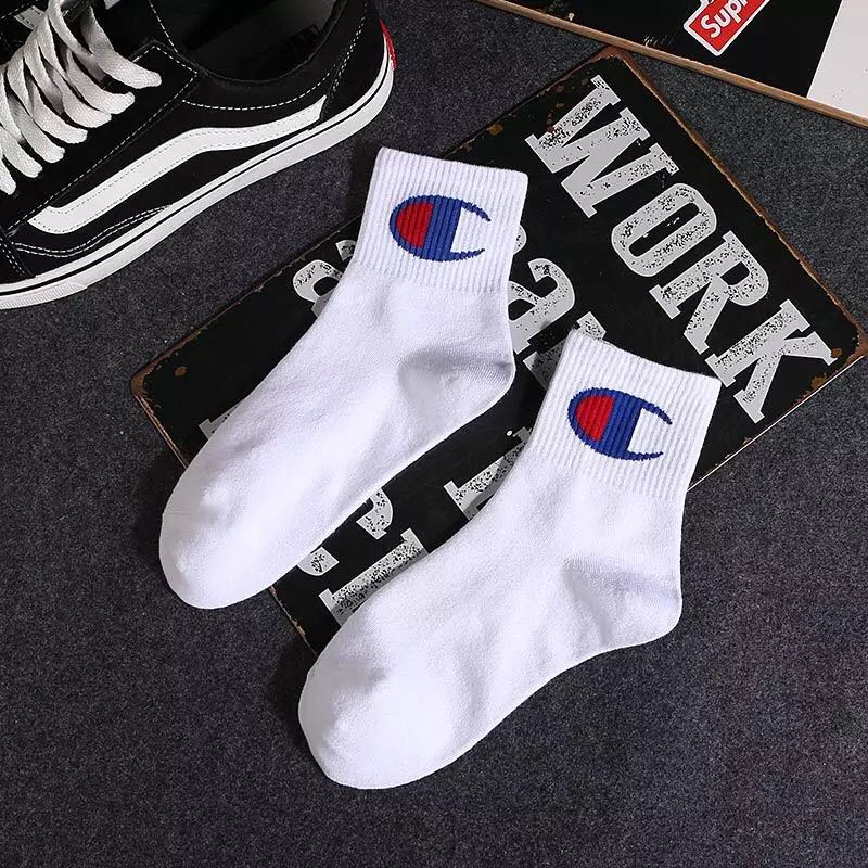 Champion logo mid cut socks