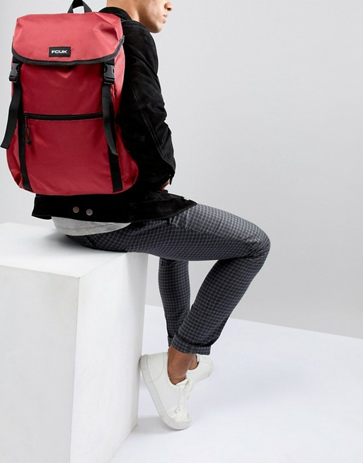 BNIP FCUK Nylon Backpack in Burgundy Red and Black // French Connection Bag
