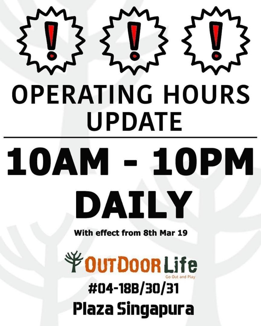 Outdoorlife Plaza Singapura Opening hours Updated