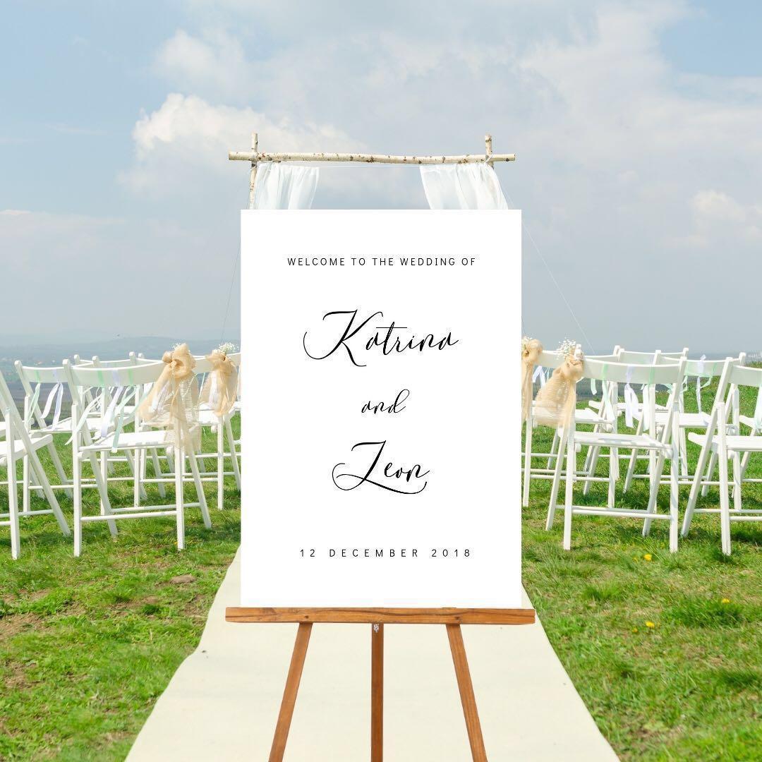 Custom wedding welcome posters, advice cards