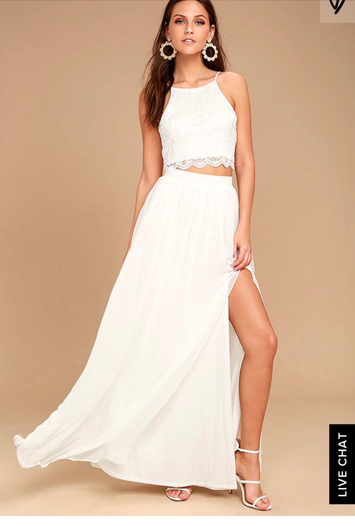 2 piece bohemian white dress for your garden solemnisation!