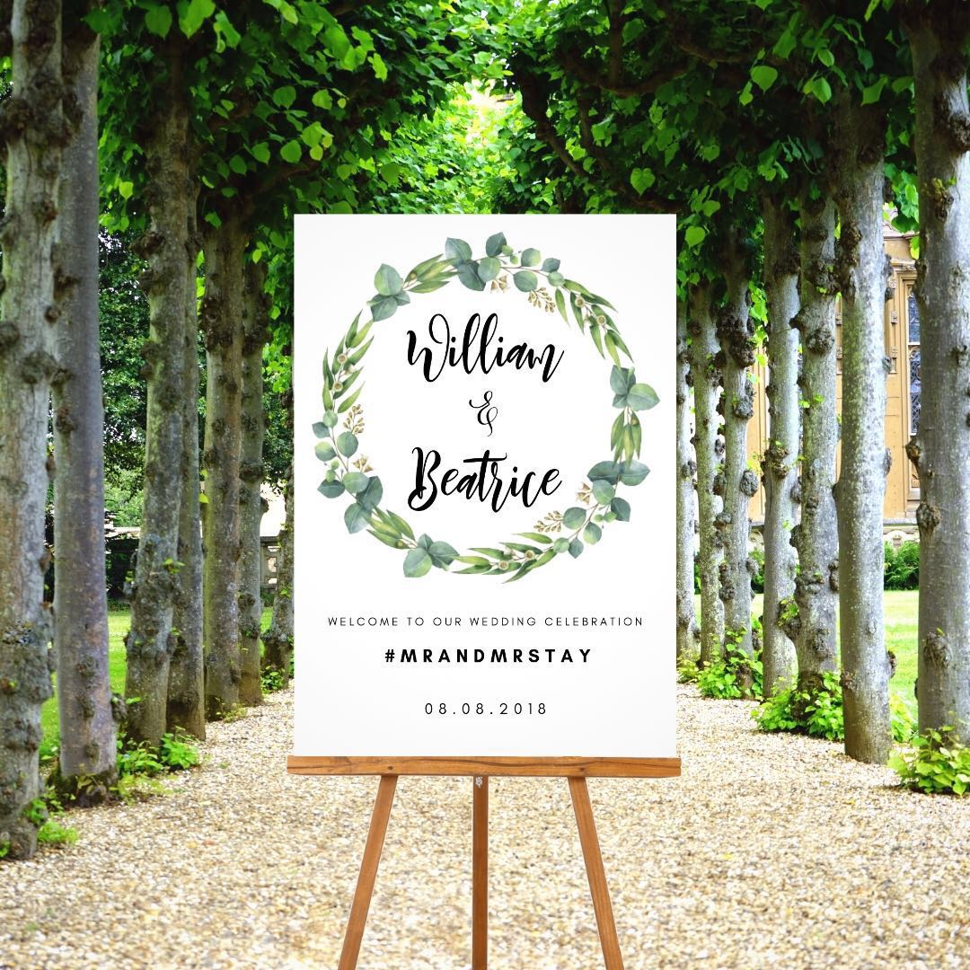 Affordable wedding welcome poster / signage