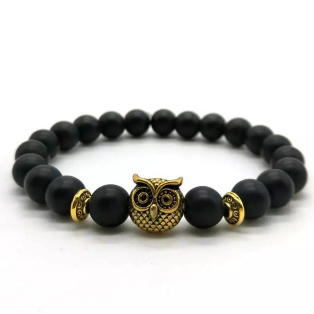 Natural Lava Rock Owl Bracelet🦉