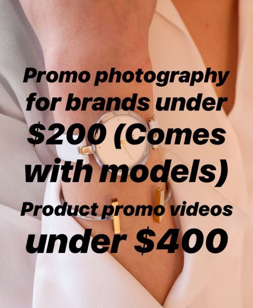 Brand & product photoshoot, model provided. Highly affordable