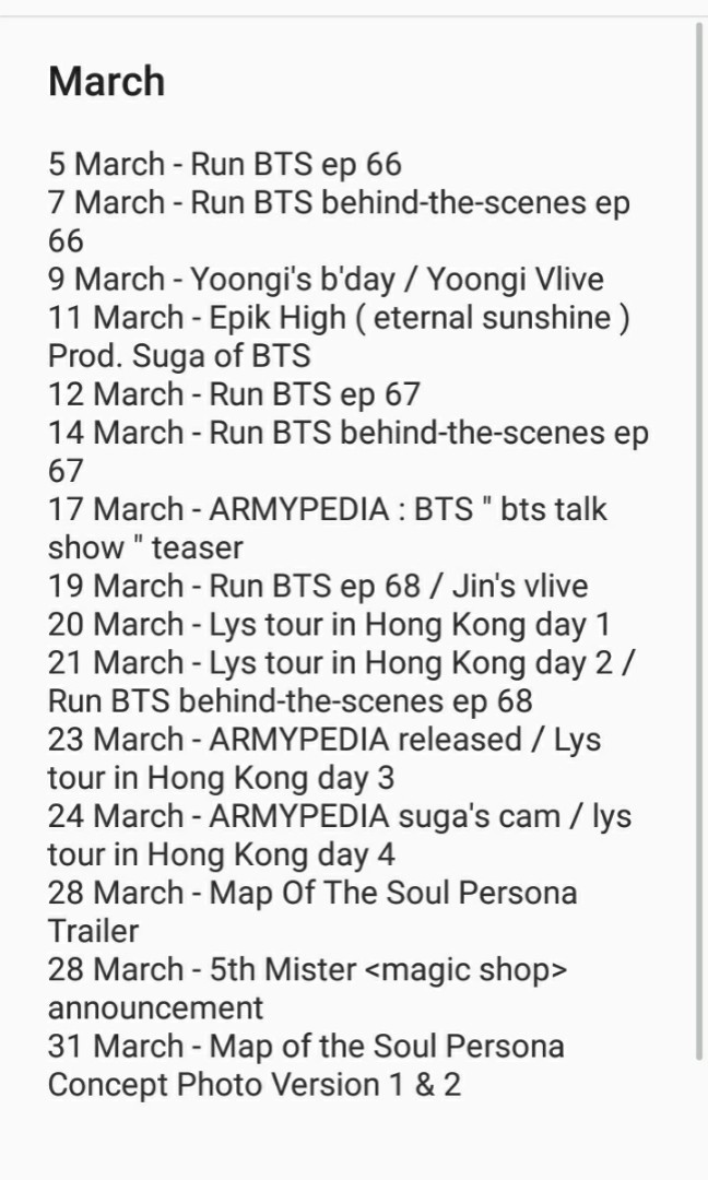 BTS Schedule for the past 4 Months