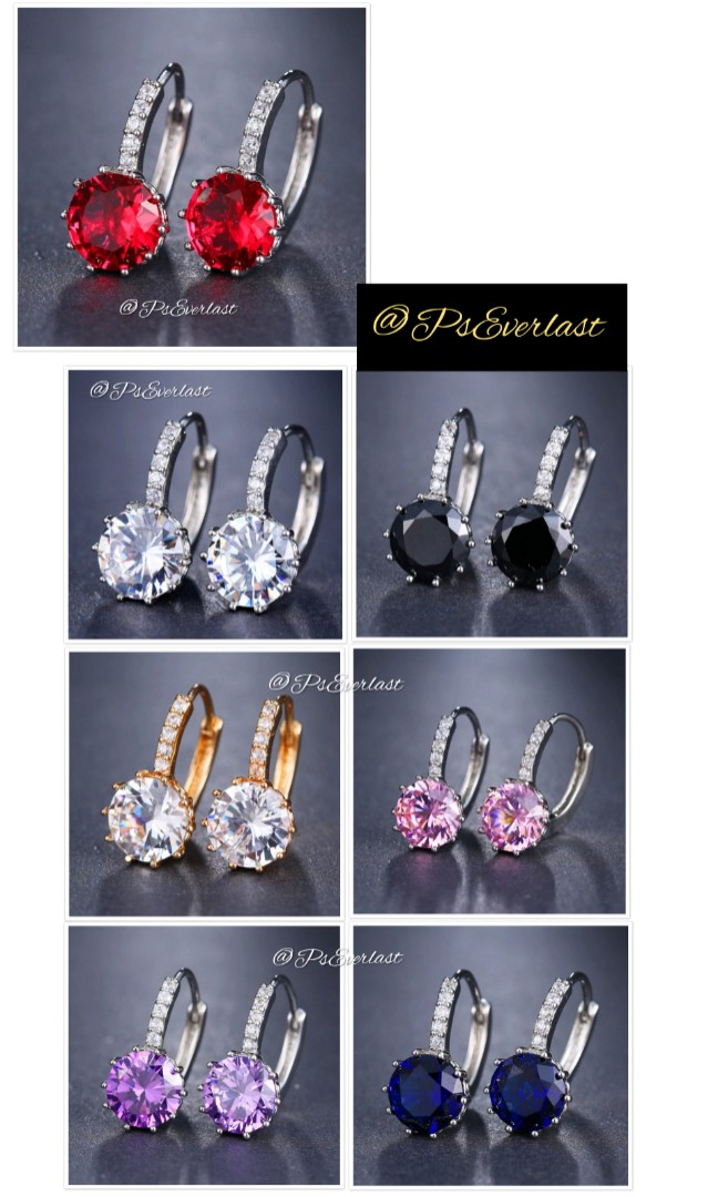 Style Cubic Zirconia Silver 925 Dropped Earring