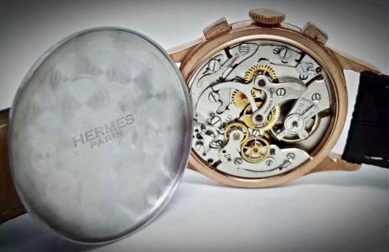 Hermes Paris Vintage Chronograph Jumbo 37.5mm Diameter Rose Gold Plated