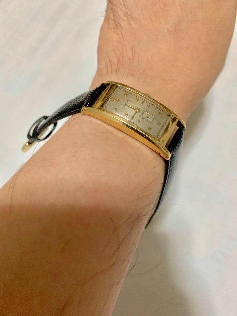 Authentic Tiffany & Co. 14 K Carat Yellow Gold Vintage Art Deco 43.7mm Watch
