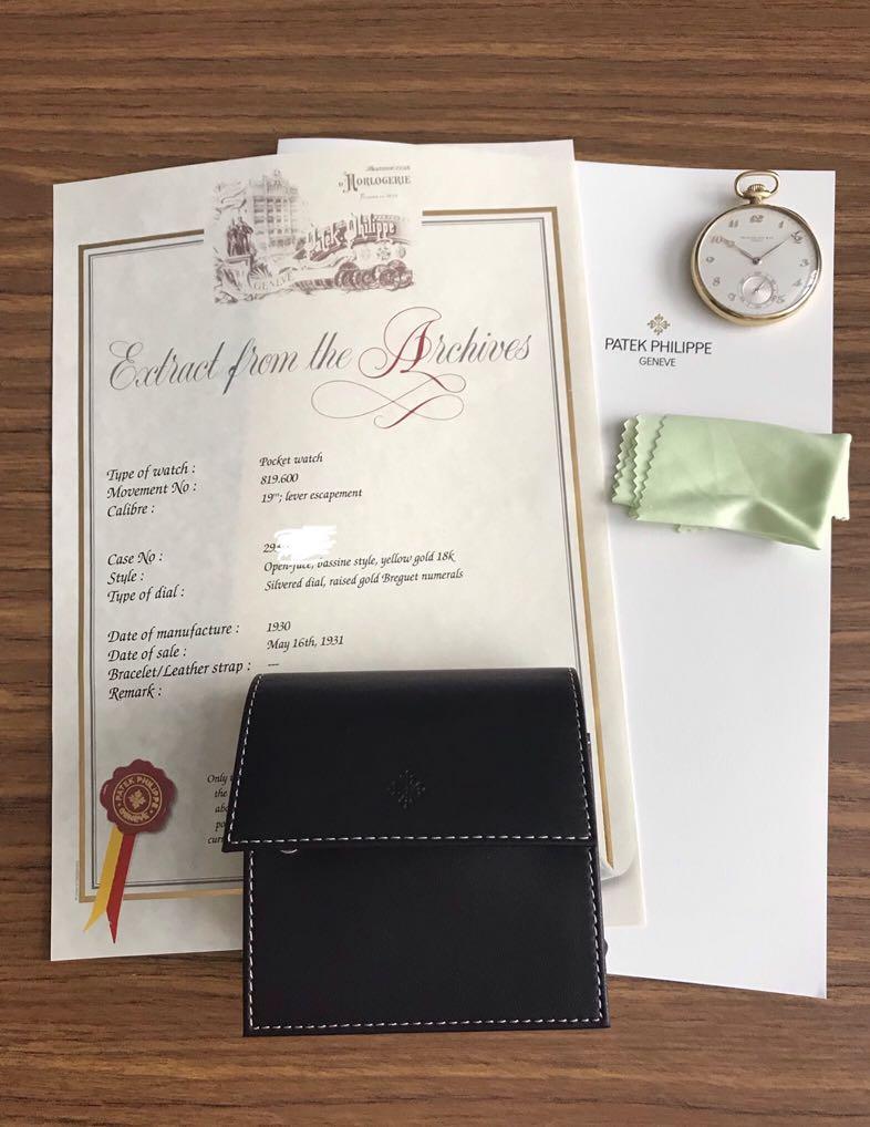 The Rare Bird 🦅-Authentic Patek Philippe 18K Carat Solid Yellow Gold Pocket Watch