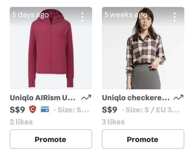 Size S uniqlo clothes @ $9 each only!