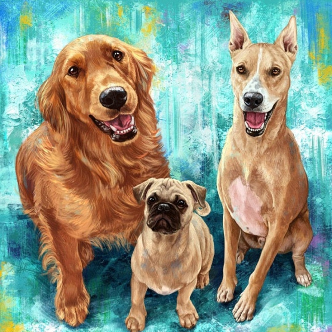 Custom Pet Portrait Acrylic Painting of your Cat, Dog, etc on Canvas